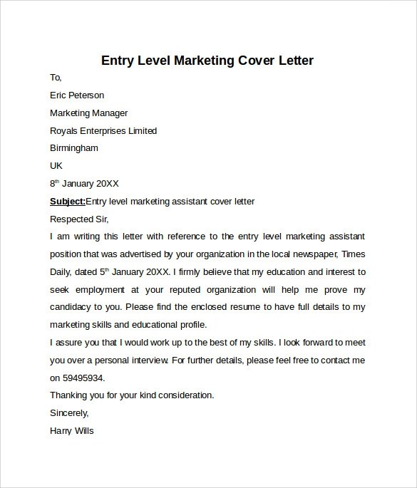 10 Entry Level Cover Letter Templates – Samples Examples