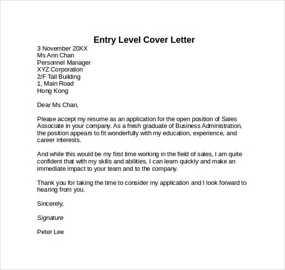 Entry Level Resume Cover Letter Examples  Examples Of Resumes