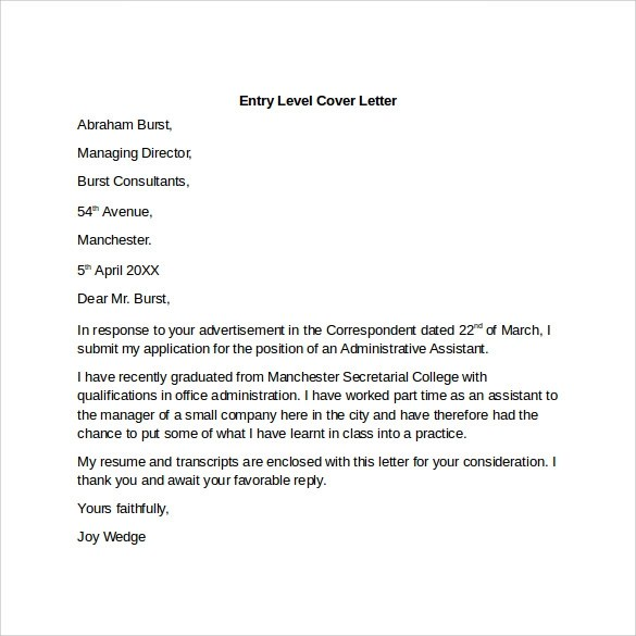 Entry Level Cover Letter Templates  9 Free Samples Examples  Format