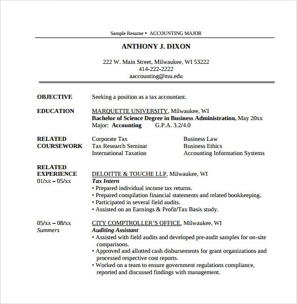 tax resume samples