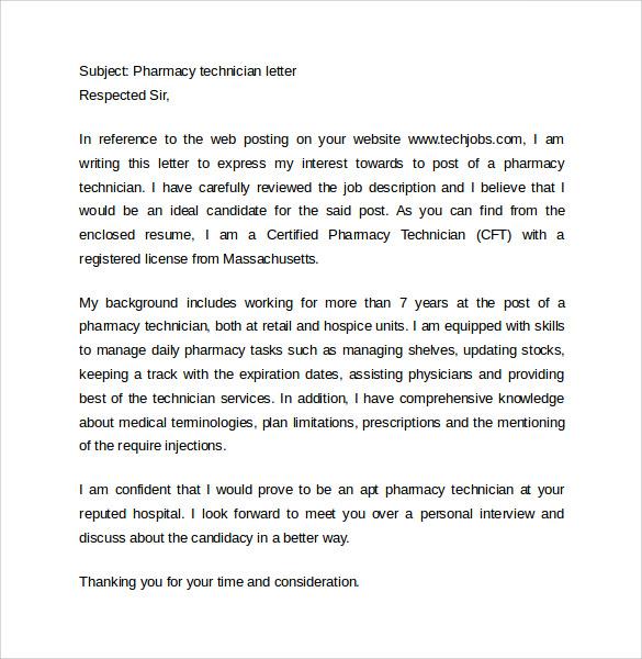 Pharmacy Technician Letter  13  Samples Examples Format