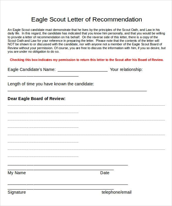 bsa eagle recommendation letter