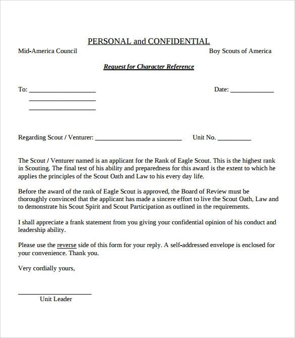 bsa eagle recommendation letter
