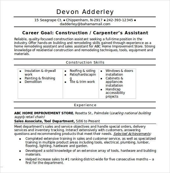 12 Construction Resume Templates – Samples Examples