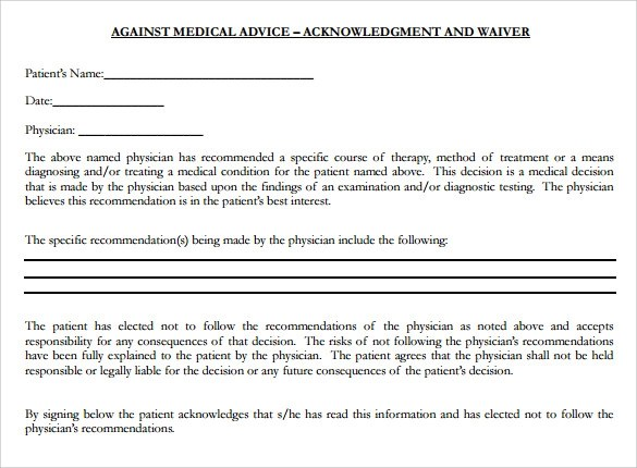 9 Against Medical Advice Forms – Samples Examples