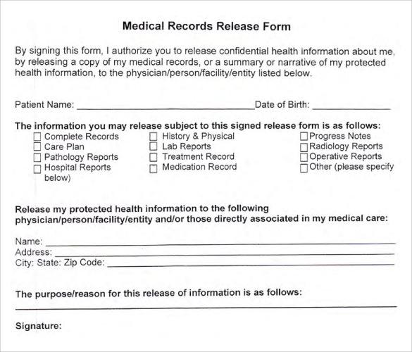 medical records release form sample