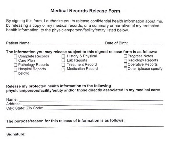 general medical records release form sample free download
