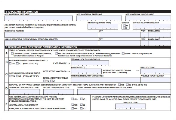 8 Medical Application Forms  Samples Examples  Format  Sample Templates