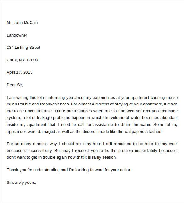 Apartment Complaint Letter Nice Apartement – Sample Complaint Letter Format