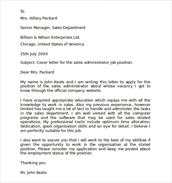 Cover Letter Templates Of For Job Application