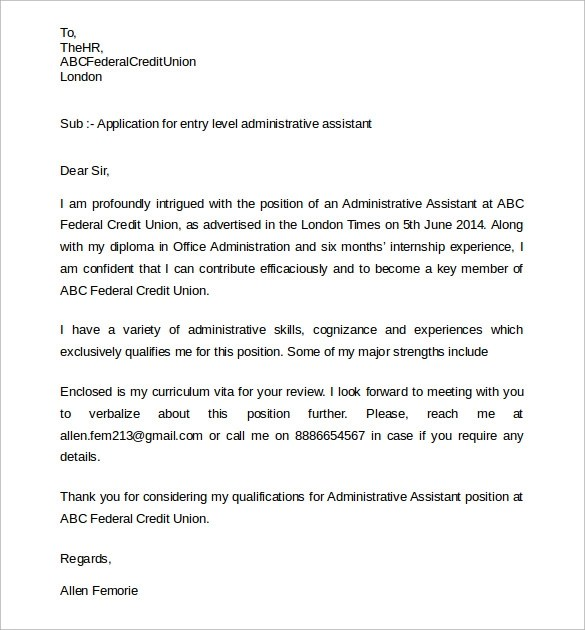 Executive Assistant Cover Letter Administrative