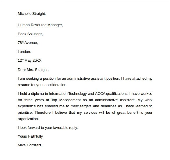 Administrative Assistant Cover Letter Samples Free