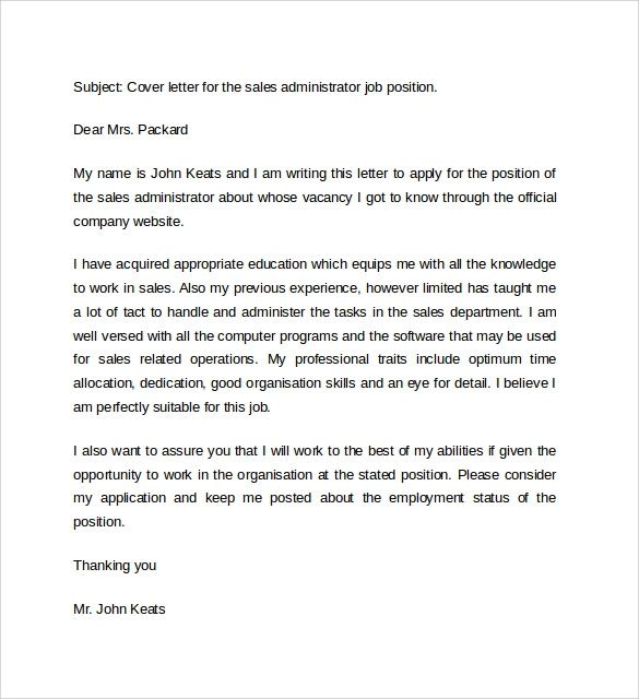 cover letter example for position