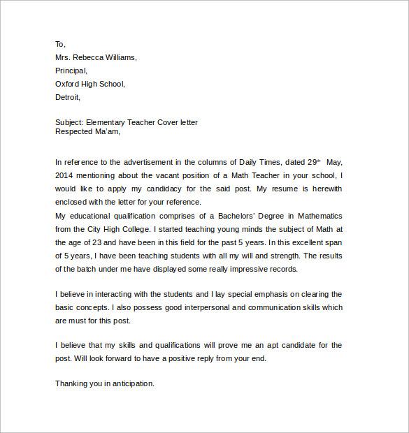 Resume CV Cover Letter 100 cover letter sample for teachers cover – Teacher Cover Letter Example