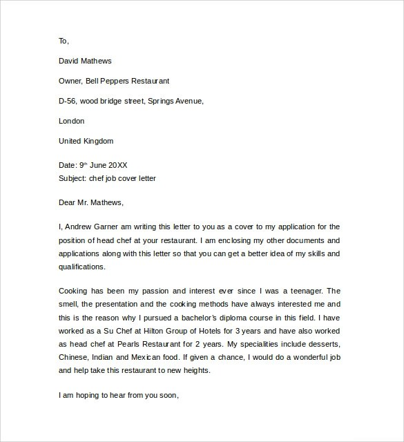 Cover Letter Chef Consultant