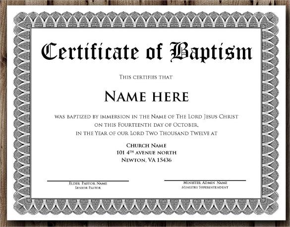 sample baptismal certificate