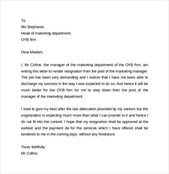 resognation letter