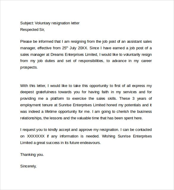 15 Resignation Letter Format Example to Download  Sample Templates