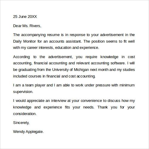 sample cover letter for resume science