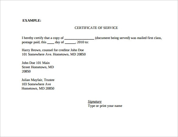 17 Certificate Of Service Templates Sample Templates