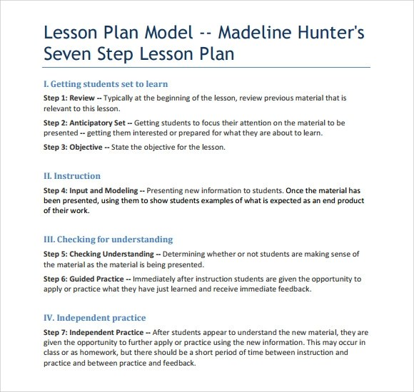 Sample Madeline Hunter Lesson Plan Templates 10 Free Examples Amp Format Sample Templates