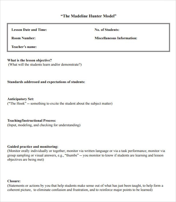 Sample Madeline Hunter Lesson Plan Templates – 10 Free