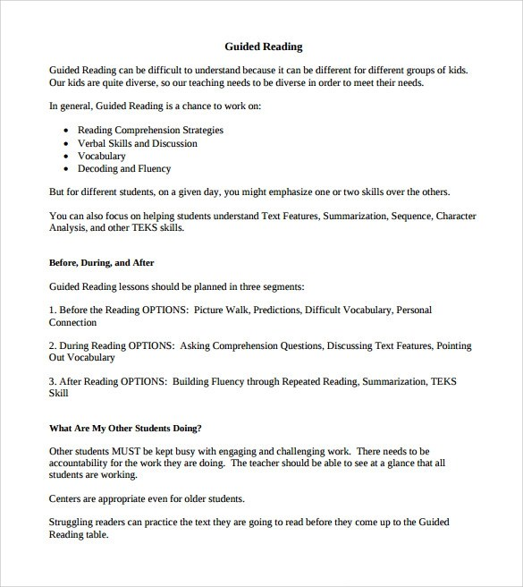 Sample Guided Reading Lesson Plan Template 9 Free Examples Format Sample Templates