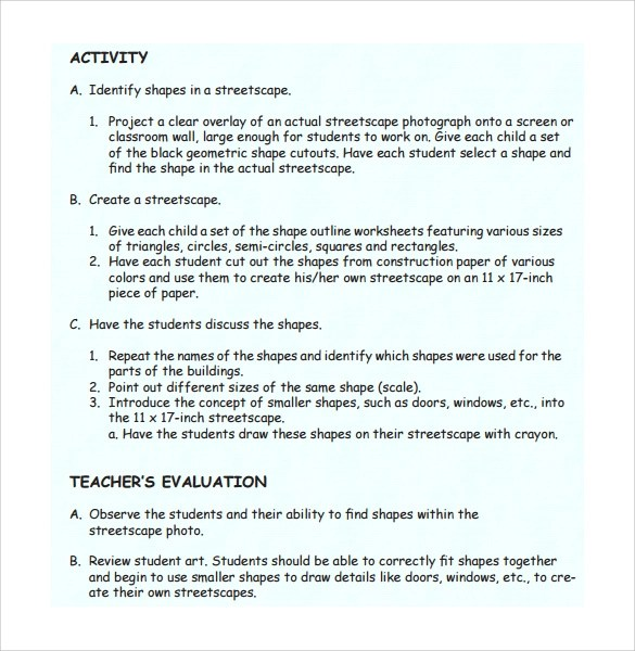 Sample Kindergarten Lesson Plan  10 Documents In PDF Word