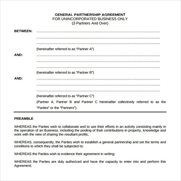 12+ Sample General Partnership Agreement Templates | Sample Templates