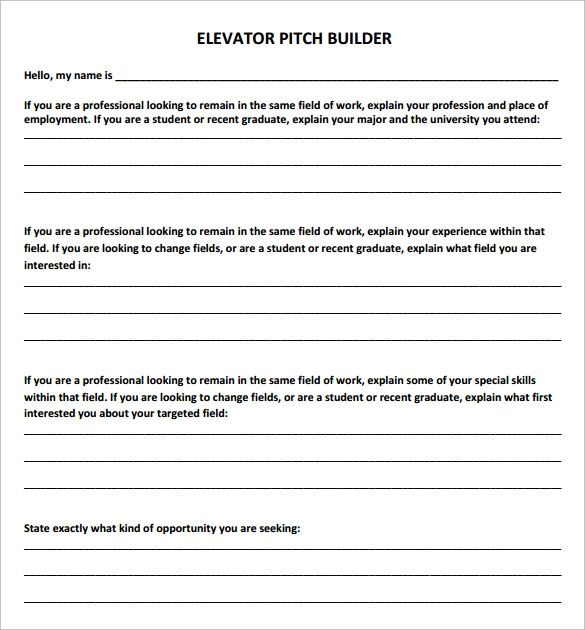 elevator pitch builder