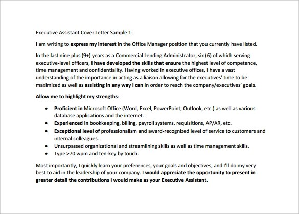 Sample Executive Assistant Cover Letter  9 Download Free Documents in PDF Word