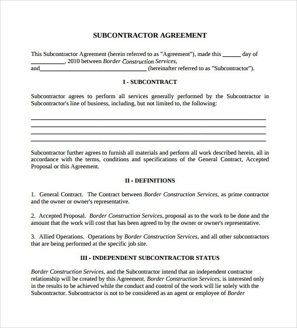 Sample subcontractor agreement for Standard subcontract agreement template