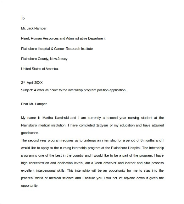 Sample Nurse Cover Letter  9 Documents in PDF Word