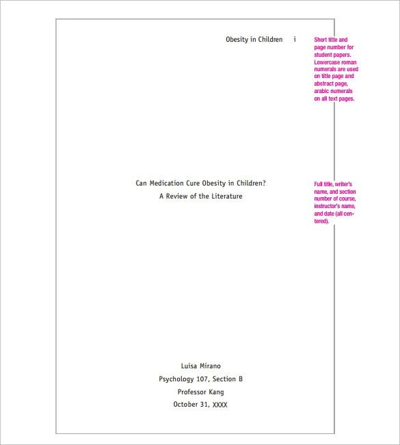 apa cover sheet template