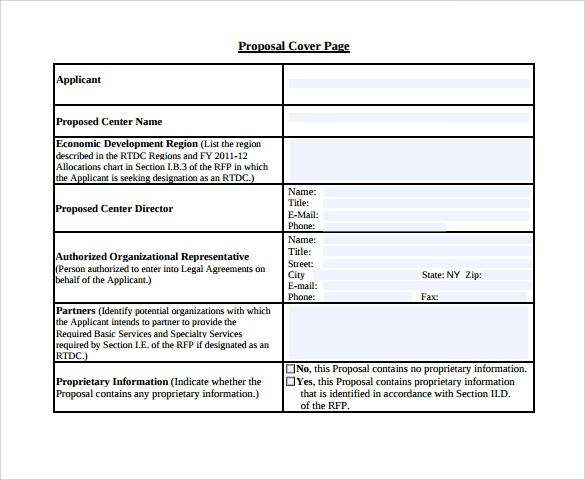 Sample Proposal Cover Page Template  14 Free Documents