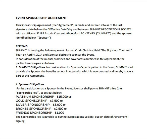 Sponsorship Agreement Letter Sample  Docoments Ojazlink