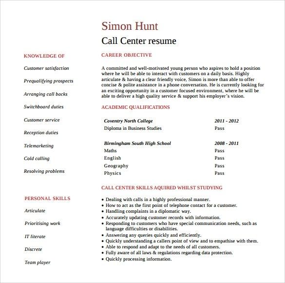 Resume For Customer Service Representative For Call Center Resume