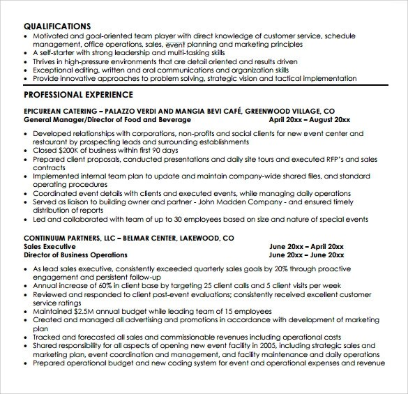 8 Sample Event Planner Resumes Sample Templates