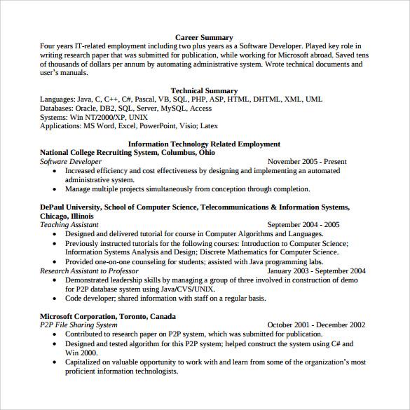 Sample Software Developer Resume  10 Free Documents Download in PDF Word
