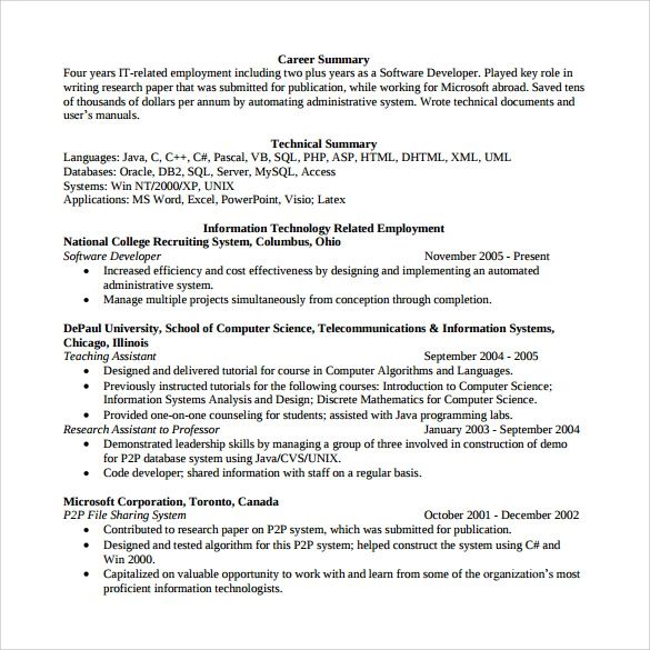 java software developer resume examples