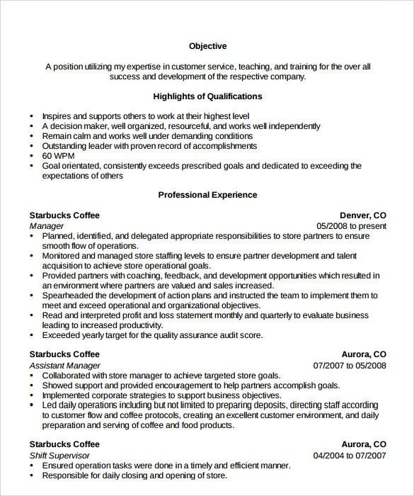 Resume Format For Retail Store Manager Create Professional