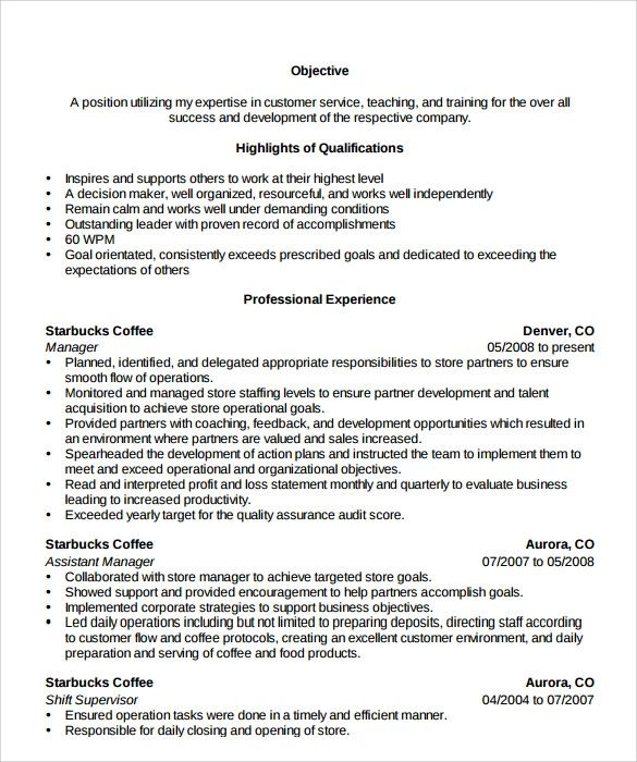 resume objectives for store manager position
