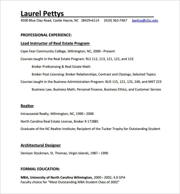sample broker resume