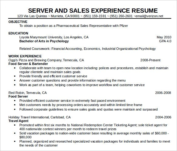 7 Sample Food Service Resumes Sample Templates