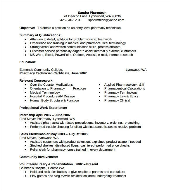 Example Pharmacist Resume - Examples of Resumes
