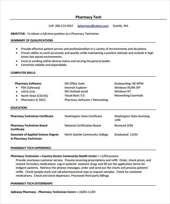 free pharmacy technician resume samples