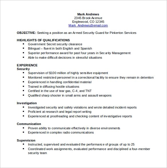 security clearance resume example examples of resumes - Armed Security Resume