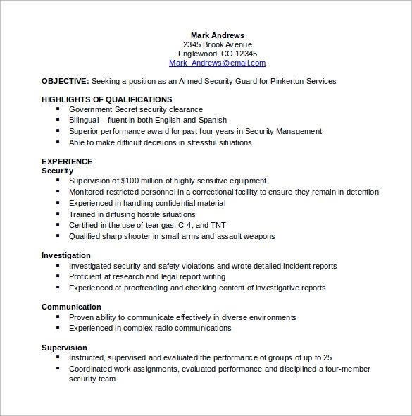 resume of information security professional