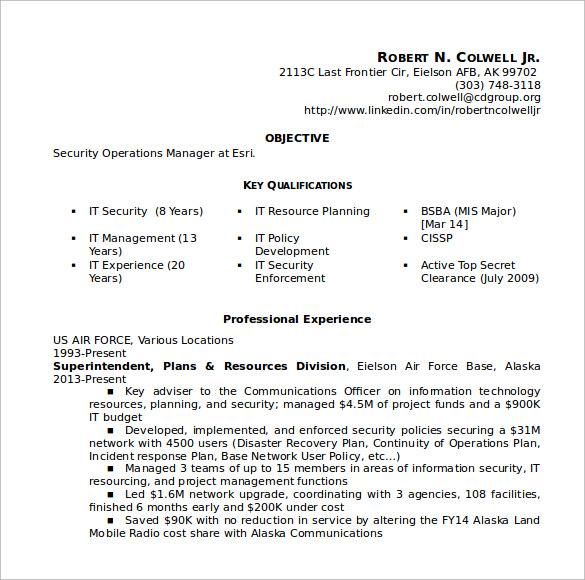 security resume sample