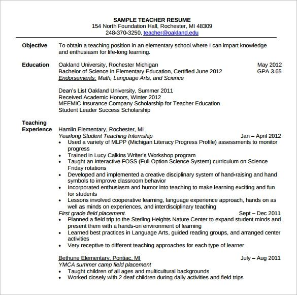 10 sample teacher resume templates to download